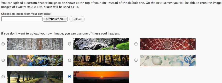 default Header Standadtemplate WordPress 3.0.