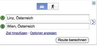 Google Maps Austria Auto und Fussgaenger