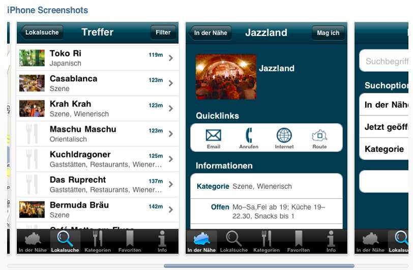 Wien wie es isst Screen der iPhone application